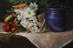 Blommor och kruka